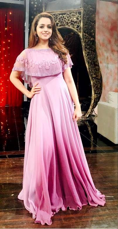 Bhavana in lavender ombre cape gown  costume by label m