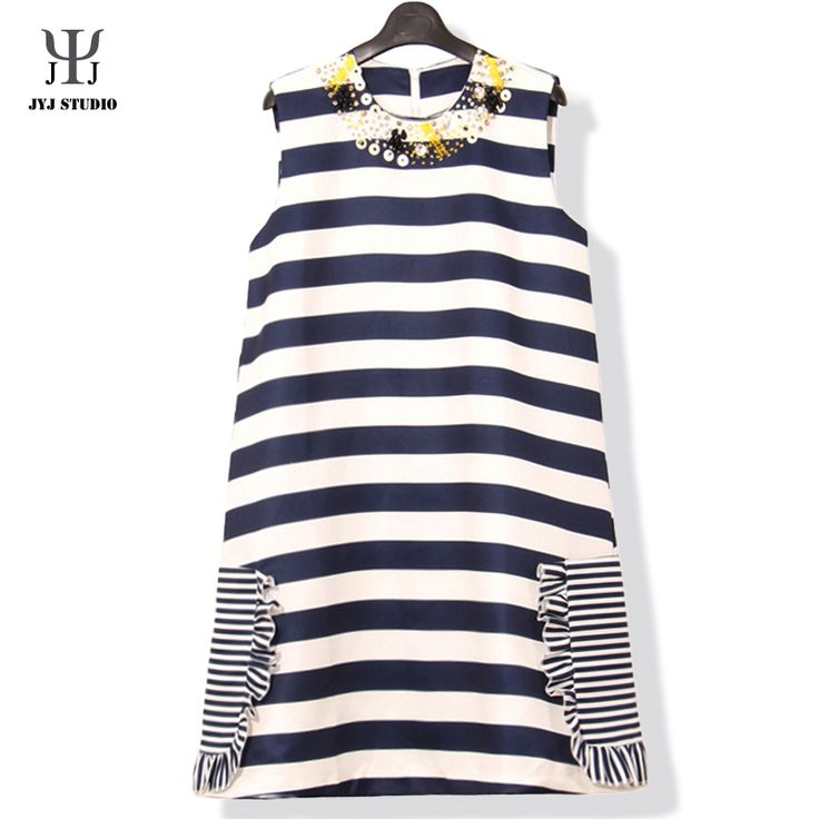 Aliexpress.com : Buy Navy Striped Dress A line Nail Bead Sleeveless Dress Beading Short Mini Sexy Dress Women Blue And White Ladies Office Dress from Reliable dresses for cheap prices suppliers on JYJ STUDIO