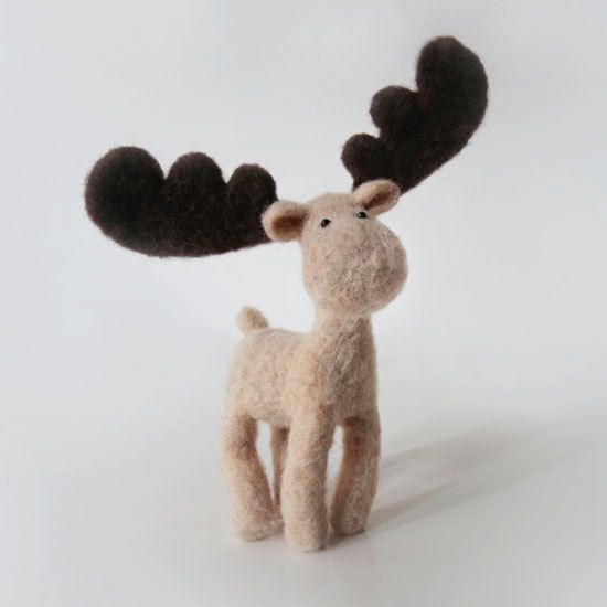 Winter with MO the Moose - fantasy forest animal with impressive antlers and the cutest moose face ever ~ forest blue factory