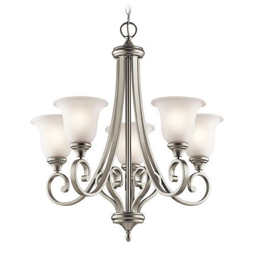 Kichler Chandelier with White Glass in Brushed Nickel Finish | 43156NI | Destination Lighting
