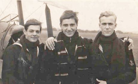 Ted Davis of Oakville, Ontario, right, is shown here with two fellow pilots in training in England. They were preparing to fly for the Royal Navy off the decks of aircraft carriers. To see more: www.elinorflorence.com/blog/minesweeper-torpedo
