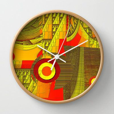 Yellowrange Wall Clock by Mittelbach Marenco Florencia on Wanelo