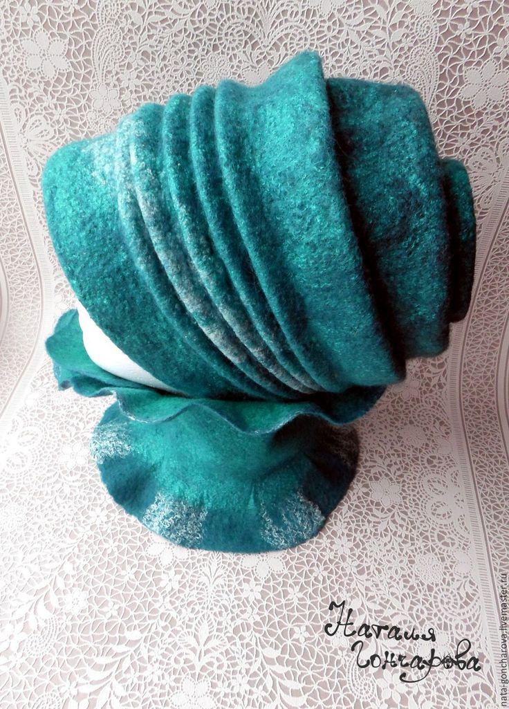 """Купить Валяная горжетка """"Бискайский залив"""" - морская волна, малахитовый цвет, валяный шарф, горжетка"""