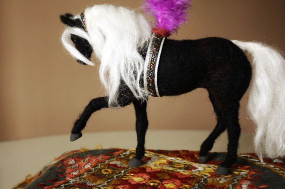 Needle felted horse decor, circus black horse, equine decor, equestrian decor, horse sculpture
