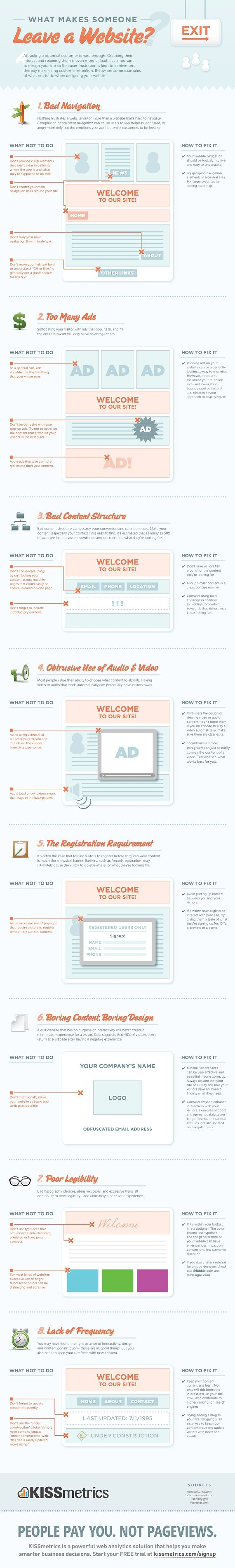 Fresh on IGM > Decrease Exit Rate: KissMetrics underlines 8 pillars of web design and content structure that you should consider if you struggle against high bounce or exit rates on your website. Easy tips to get your visitors on your doorstep and increase the chances of walking in.  > http://infographicsmania.com/decrease-exit-rate/