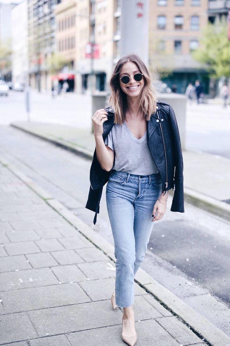 Leather jacket and denim
