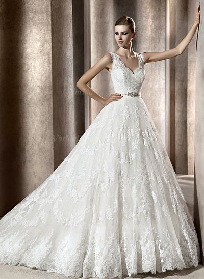 Wedding Dresses - $231.07 - Ball-Gown V-neck Chapel Train Satin Tulle Lace Wedding Dress With Beading Sequins (00205001062)