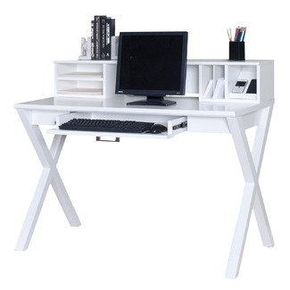kathy ireland Home by Martin Furniture Worx Bright White Office Laptop / Writing Desk, one of these Kathy Ireland's could work well