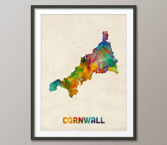A watercolor map of Cornwall, England (United Kingdom) on a vintage background, art print    Frame/Matte is not included.  Available sizes are shown in