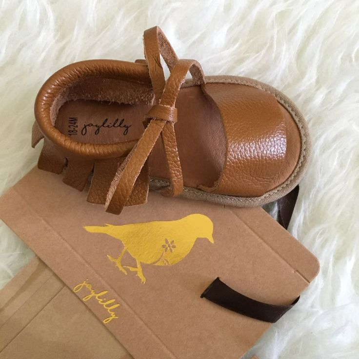 jaylilly Cognac Baby Boho inspired mocc sandals for the summertime. Cutest baby moccasins - sandal version!