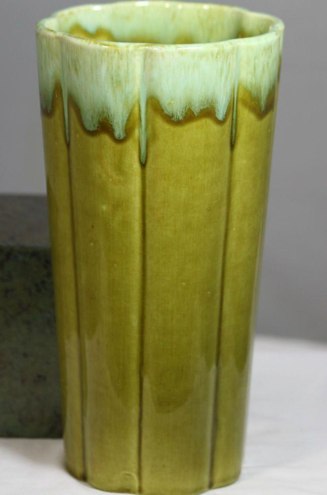 Vintage Green Drip Glaze California Ware Vase Marked Jv2 Vintage Green Vintage Vases Glazes For Pottery
