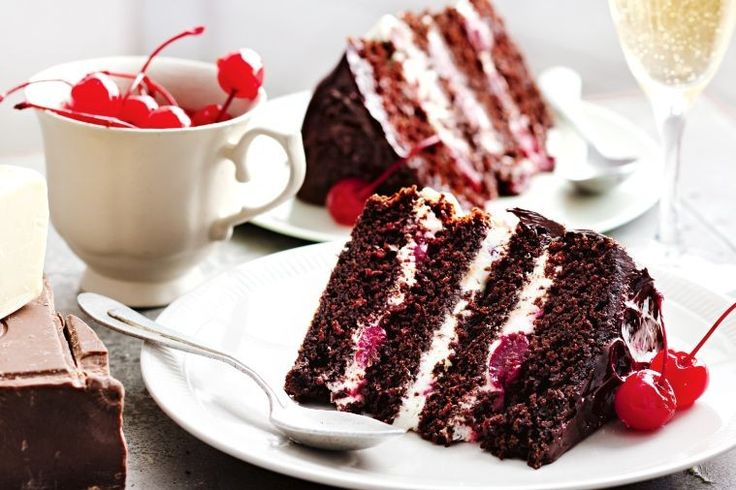 Rich dark chocolate cake layers filled with cream and sour cherries is the perfect way to spoil Mum this Mother's day.