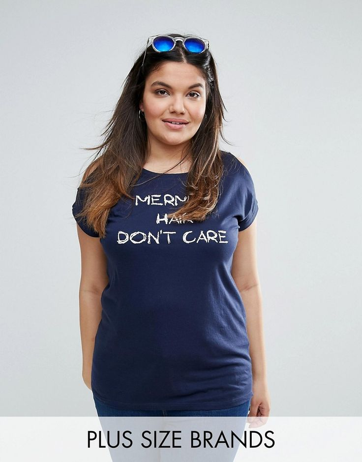 Buy it now. NVME Plus Mermaid Hair Don't Care Cold Shoulder T-Shirt - Navy. Plus-size top by NVME, Soft-touch jersey, Scoop neck, Cold-shoulder design, Slogan print, Regular fit - true to size, Machine wash, 100% Cotton, Our model wears a UK 18/EU 46/US 14 and is 180cm/5'11 tall. , tophombrosdescubiertos, sinhombros, offshoulders, offtheshoulder, coldshoulder, off-the-shouldertop, schulterfreiestop, tophombrosdescubiertos, topdosnu, topspallescoperte, hombrosdescubiertos. Navy NVME  top off…