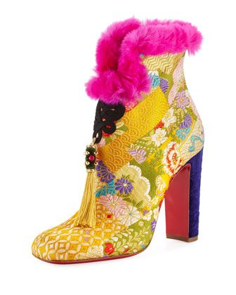 May+Wong+Brocade+Fur-Trim+100mm+Red+Sole+Bootie+by+Christian+Louboutin+at+Neiman+Marcus.