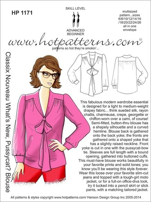 ...the perfect pussycat bow blouse...  http://www.hotpatterns.com/hp-1171-classix-nouveau-whats-new-pussycat-blouse/