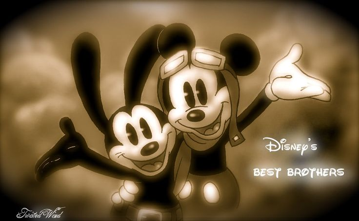 flying brothers by twisted-wind.deviantart.com -- Oswald and Mickey! Finally together again ^_^