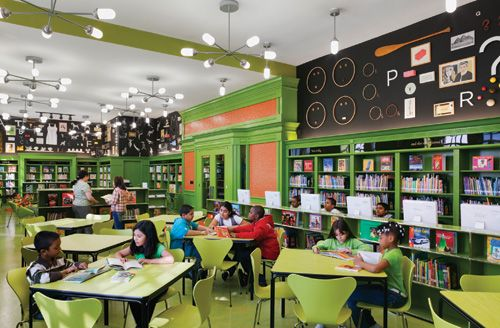 Green is fresh, with retro touches @ SLJ1104w Design4 Divine Design: How to create the 21st century school library of your dreams
