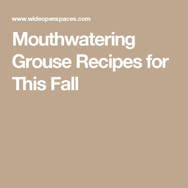 how to cook grouse in oven