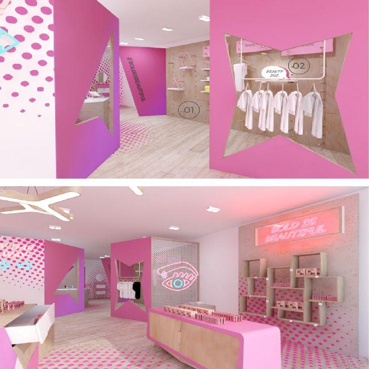 Prop Studios Retro Concept Pop Up Store Design For Benefit Benefit Cosmetics Interior Design Concep Store Design Interior Shop Interior Design Cute House