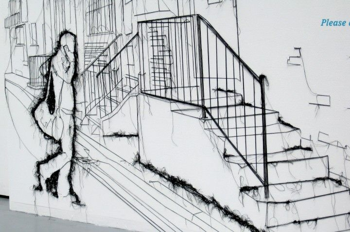 Threadbare, which is Debbie's first solo show, is inspired by the Northern Quarter's urban landscape and Manchester people