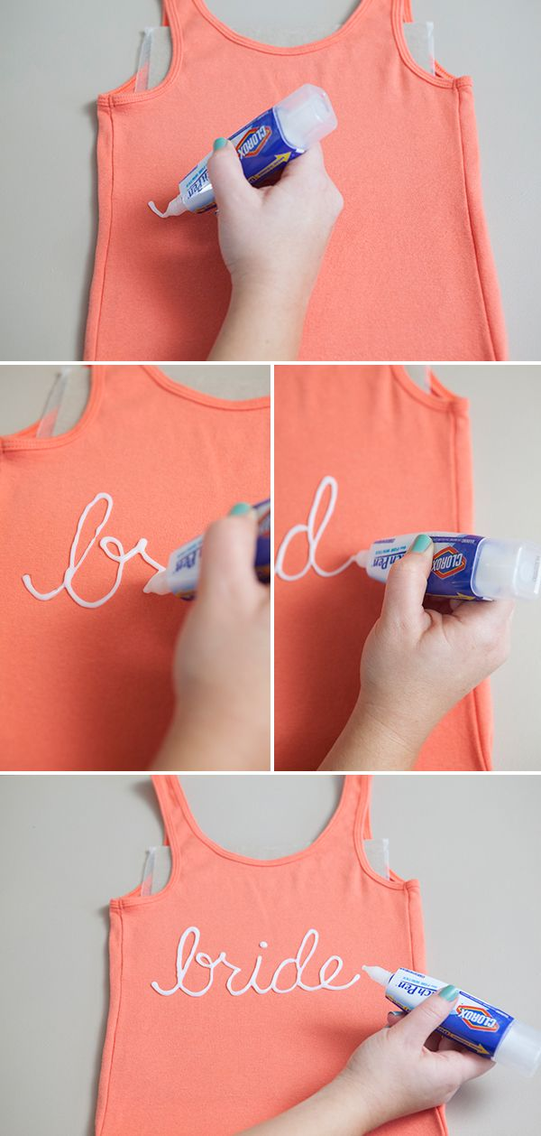 How to easily make bridal party t-shirts using a Clorox bleach pen!!! Great idea for the morning of the wedding, everyone would have their own personalized shirt!
