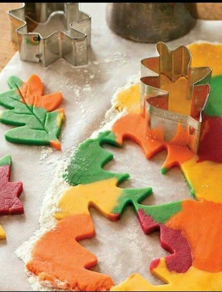 Colored dough makes for Autumn Splendor cookies!! Use your own cookie recipe and use food coloring to make various shades of the dough, then blend some together and roll out, then cut with leaf cookie cutters!!