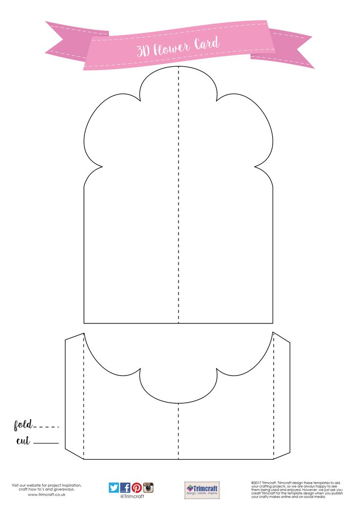 Free Card Making Printables Part - 44: Card Shape Of The Month- 3D Flower Card Making Tutorial With Free Printable  Template