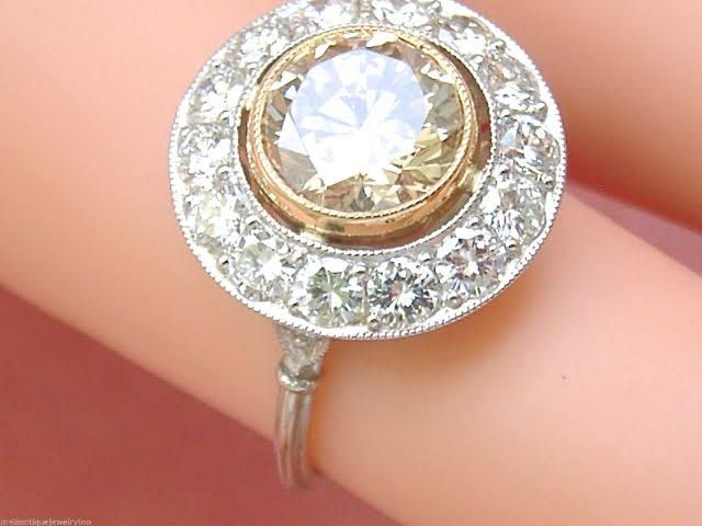 ESTATE ART DECO 2.11ct CHAMPAGE PINK BROWN DIAMOND ENGAGEMENT COCKTAIL HALO RING
