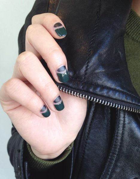 Who says you need to stick to one texture per mani? Divide your nails into two parts: one glossy, one matte. The result is a cool, modern-looking manicure that's just right to pair with your favorite leather jacket. See this manicure on Julep »  - GoodHousekeeping.com
