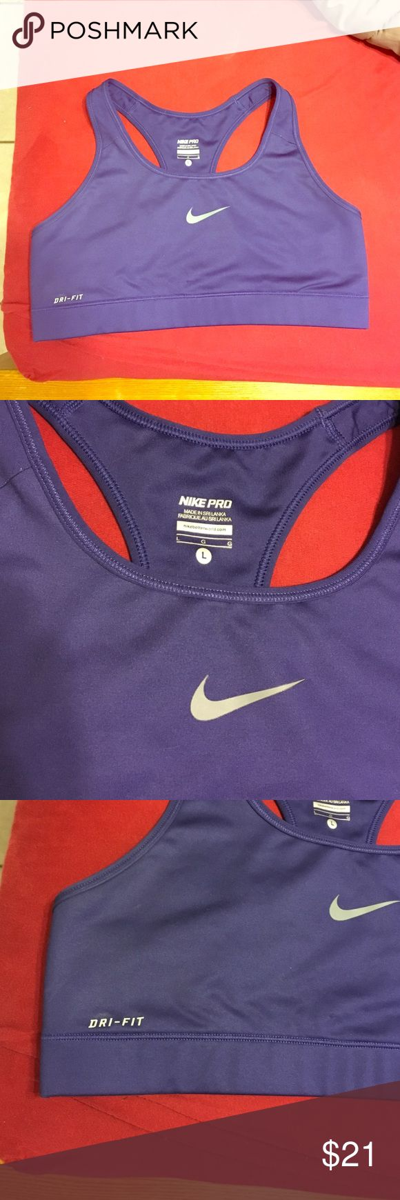 New Nike pro dri-fit purple sports bra size large Excellent condition!!! Purple-grape color with a silver Nike check racer back sports bra. Worn one time!! 88% polyester, 12% spandex. Retails for $35! I ship within the next business day unless purchased on a Friday. Nike Intimates & Sleepwear Bras