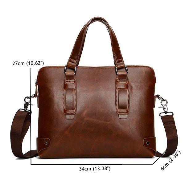 Vintage PU Leather Business Handbag Crossbody Shoulder Bag Briefcase For Men