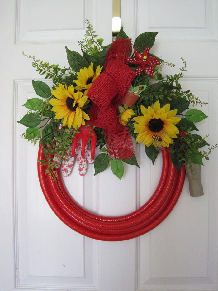 RED GARDEN HOSE-Door WREATH Spring Summer Sunflowers Garden Tools-FREE SHIPPING!