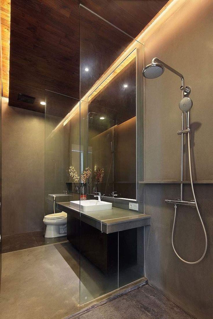 Bad Ohne Fliesen  Begehbare Dusche Mit Glas Trennwand Fliesen Am Waschtisch