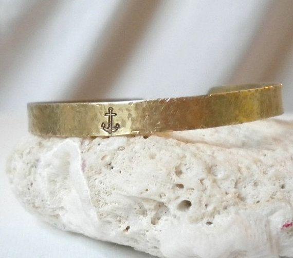 Anchor Brass Bracelet Bangle Cuff Gold Hammered Pebbled