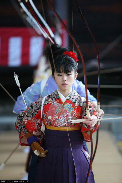 antiguo arte de kyudo Arquería, Japan