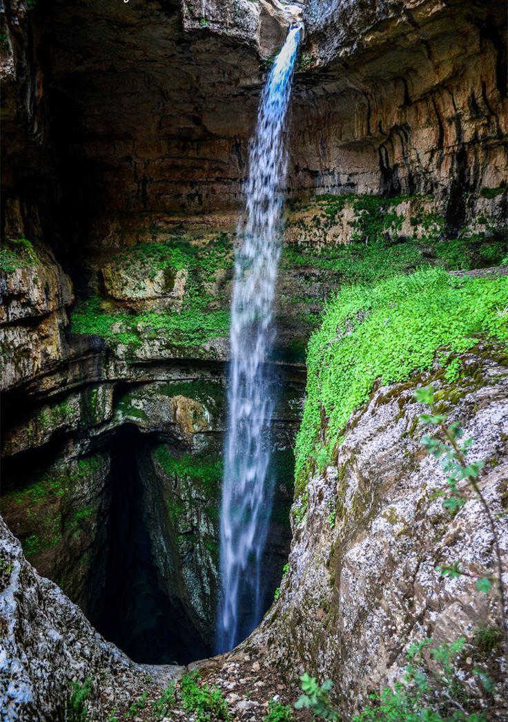 This waterfall is born when winter snow melts. Three Bridges Cave, Baatara Gorge Waterfall, Lebanon