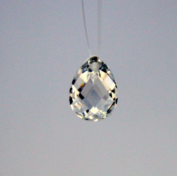 1 Cubic Zirconia Pear Shaped Pendant  Crystal by ThisPurplePoppy, $2.75