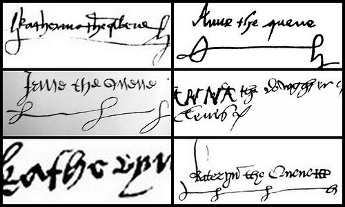 The signature's of the Six Wives of Henry VIII.