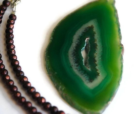 Beaded Green Agate Slice Necklace, Statement Necklace, Gift for Her