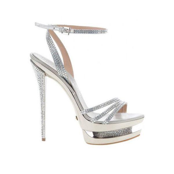 Gianmarco Lorenzi White Rhinestone Platform Sandal ❤ liked on Polyvore featuring shoes, sandals, rhinestone platform sandals, rhinestone shoes, white sandals, rhinestone sandals and white platform sandals