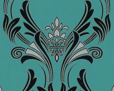 95703-3  Art Deco Emerald Green and Black Baroque Damask Wallpaper