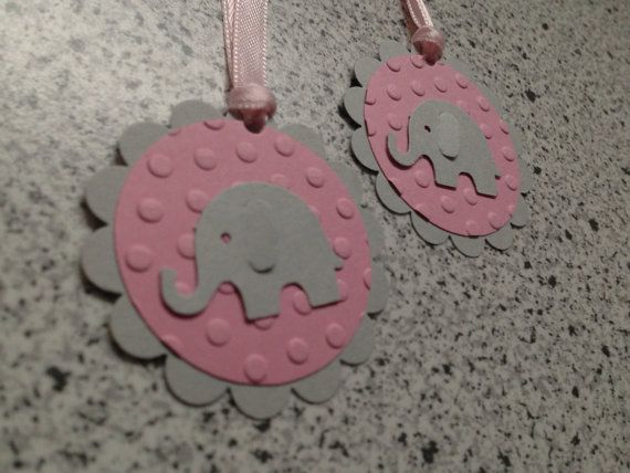 This listing is for 12 ELEPHANT favor tags. Embossed pink cardstock gives these toppers the right pop.    These adorable tags are accented with a