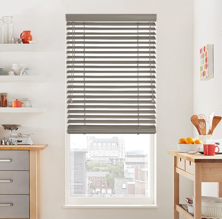 This premium wooden blind in Natural Clay will fit into any modern kitchen only from £66.61