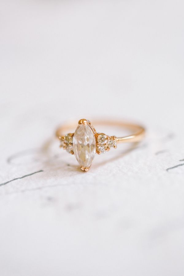 Stunning marquise cut vintage engagement ring: http://www.stylemepretty.com/destination-weddings/2016/06/24/an-inspo-complete-with-an-off-the-rack-wedding-gown-you-need-to-own/ | Photography: Nastja Kovacec Photography - http://www.nastjakovacec.com/