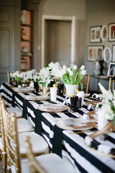 Beautiful Modern Baby Shower Table Decor With Flowers And Stripes