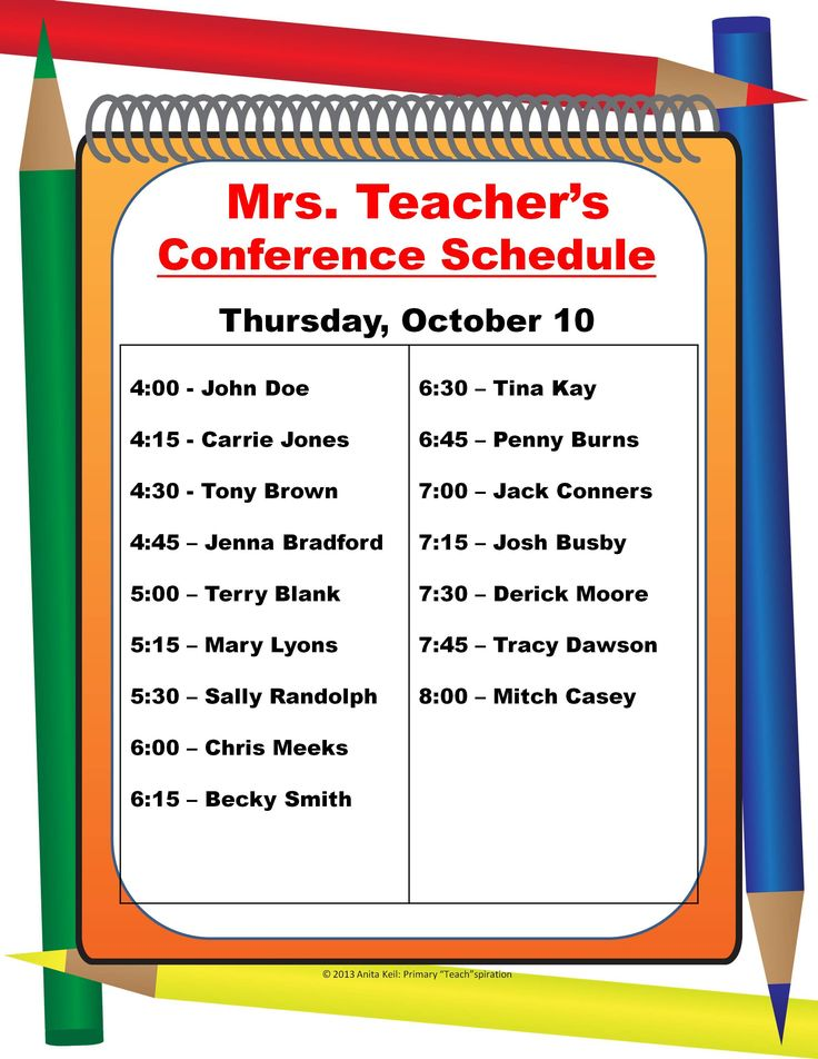 74 best Parent Teacher Conference images on Pinterest Parent - conference schedule template