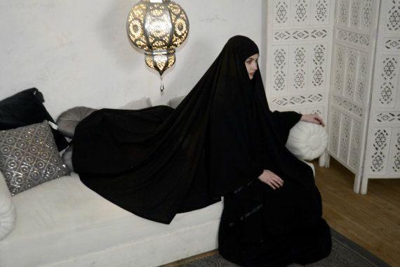 Transformer Black Khimar, Modern Burqa, Black Burka, Muslim Cape,ready to wear hijab, long hijab, Muslim kimono, Oversize Khimar