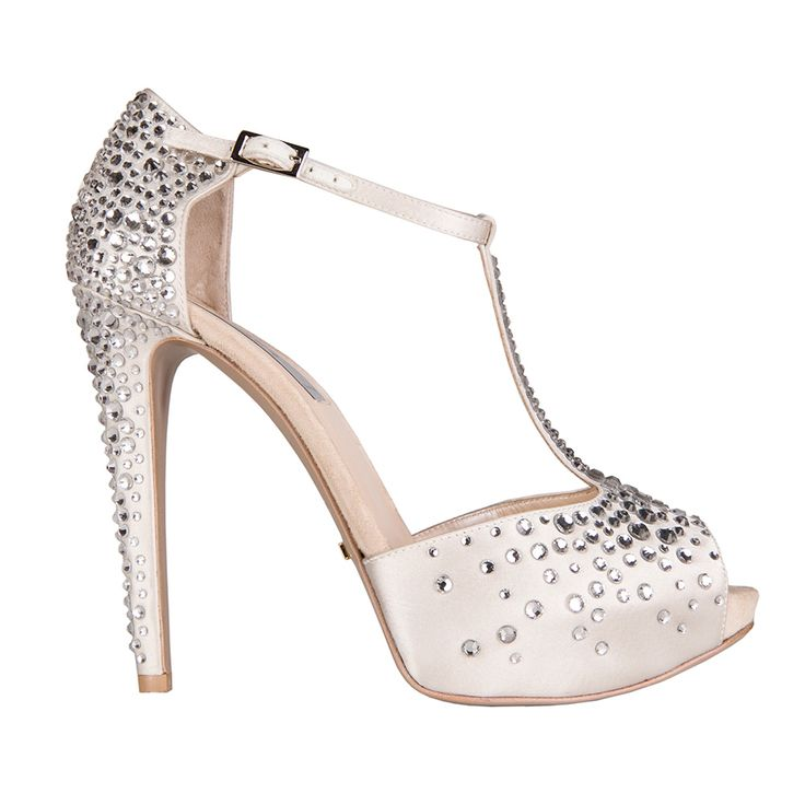Chalk silk #open-toe shoe entirely covered in micro and macro #crystal beads. #weddingshoes