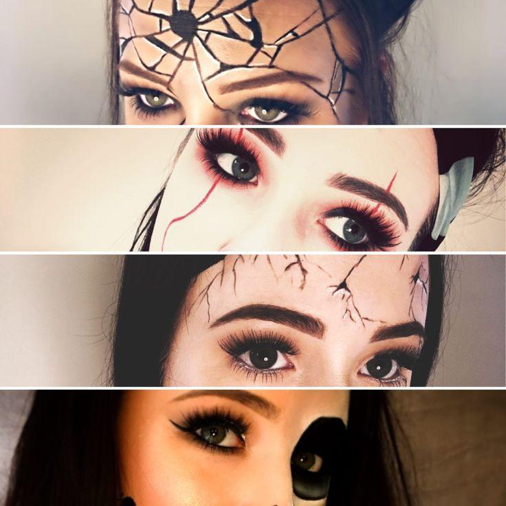 Mangler du inspiration til din Halloween makeup? Så klik og se 4 forskellige looks, som jeg har lavet. Dukke, kranie, Pennywise IT...