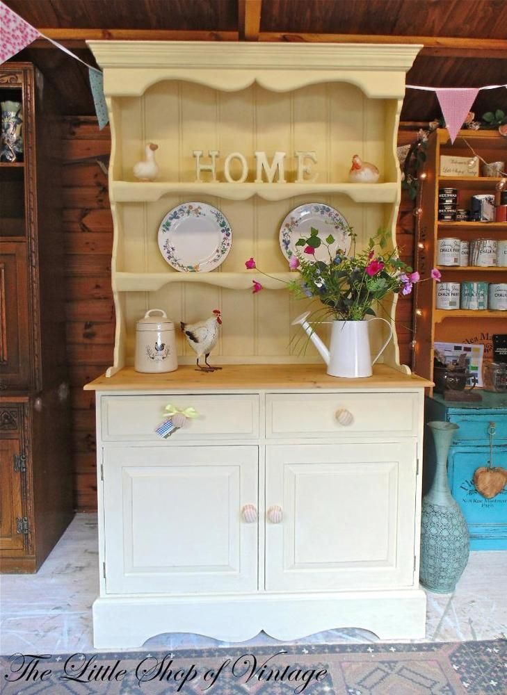 Farmhouse Solid Pine Welsh Kitchen Dresser Cupboard Sideboard Cream Shabby Chic